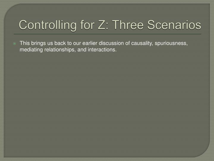 Controlling for Z: Three Scenarios