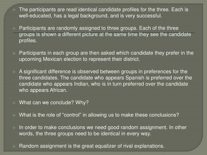 The participants are read identical candidate profiles for the three. Each is well-educated, has a legal background, and is very successful.