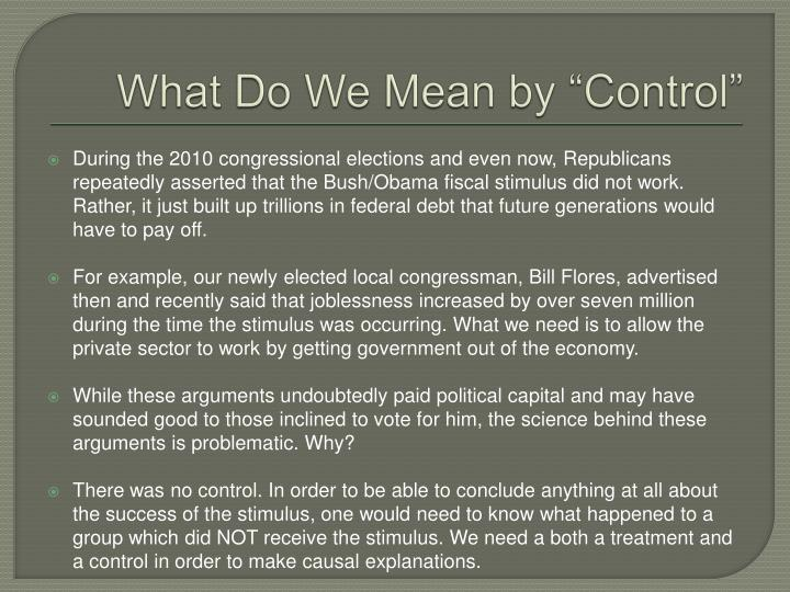 What do we mean by control