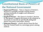 constitutional basis of powers of the national government