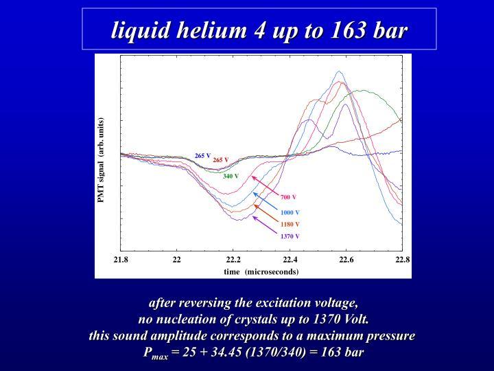 liquid helium 4 up to 163 bar