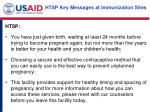 htsp key messages at immunization sites