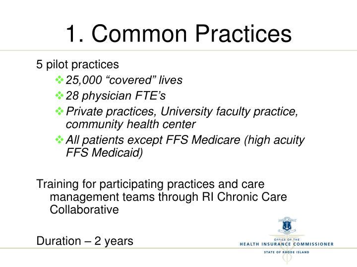 1. Common Practices