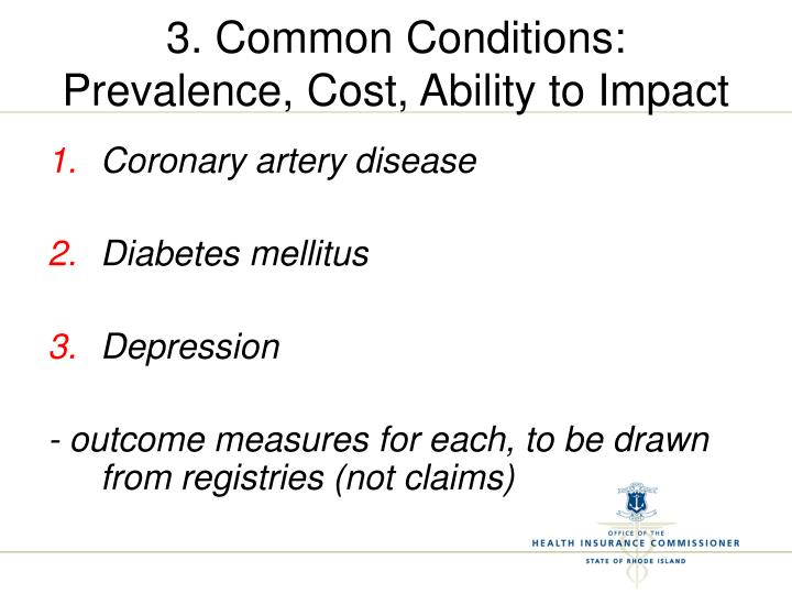 3. Common Conditions:  Prevalence, Cost, Ability to Impact