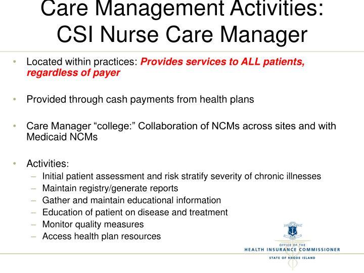 Care Management Activities: