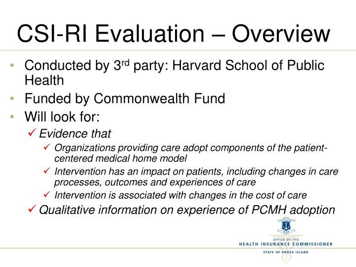CSI-RI Evaluation – Overview