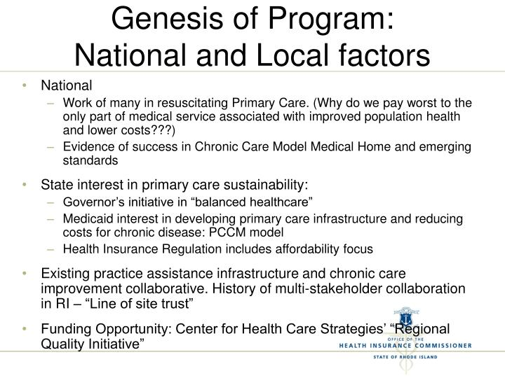 Genesis of Program: