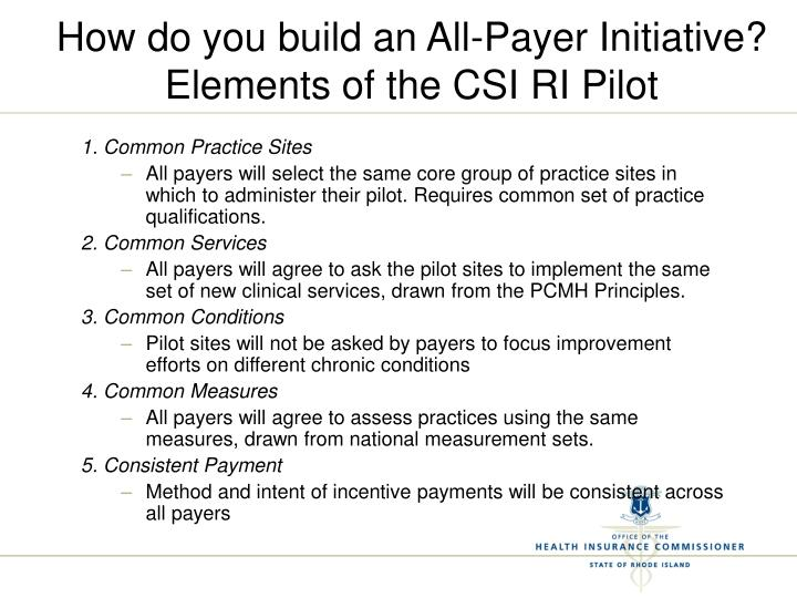 How do you build an All-Payer Initiative?
