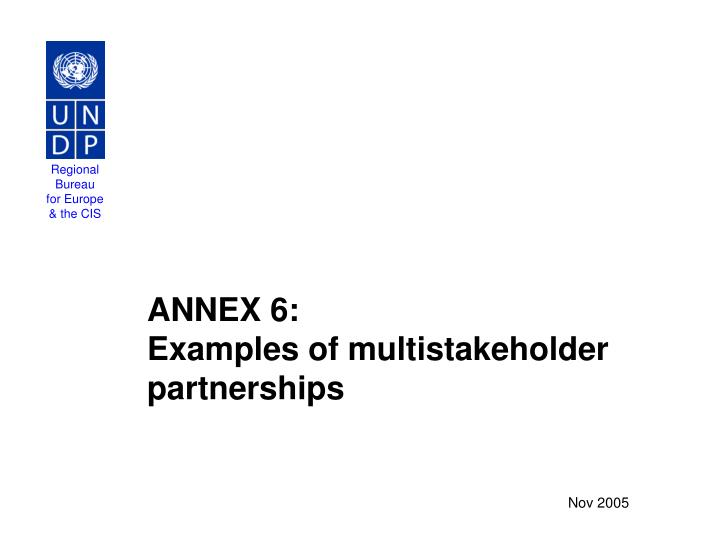 annex 6 examples of multistakeholder partnerships n.