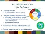 top 10 ecopreneur tips 1 go green