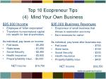 top 10 ecopreneur tips 4 mind your own business2