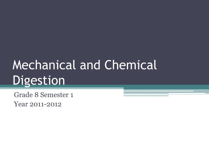mechanical and chemical digestion n.