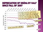depreciation of kr na by half since fall of 2007