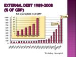 external debt 1989 2008 of gdp