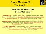 selected awards in the social sciences