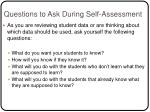 questions to ask during self assessment