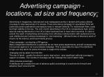 advertising campaign locations ad size and frequency