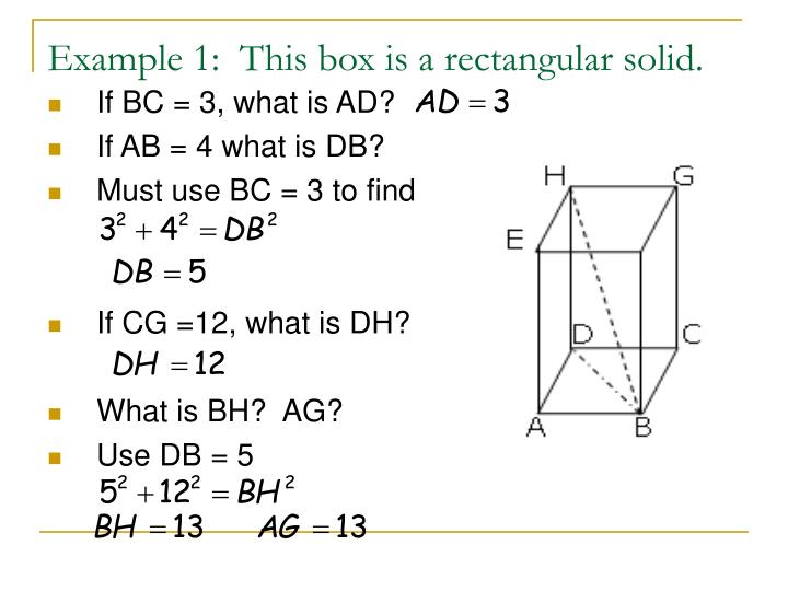 Example 1:  This box is a rectangular solid.
