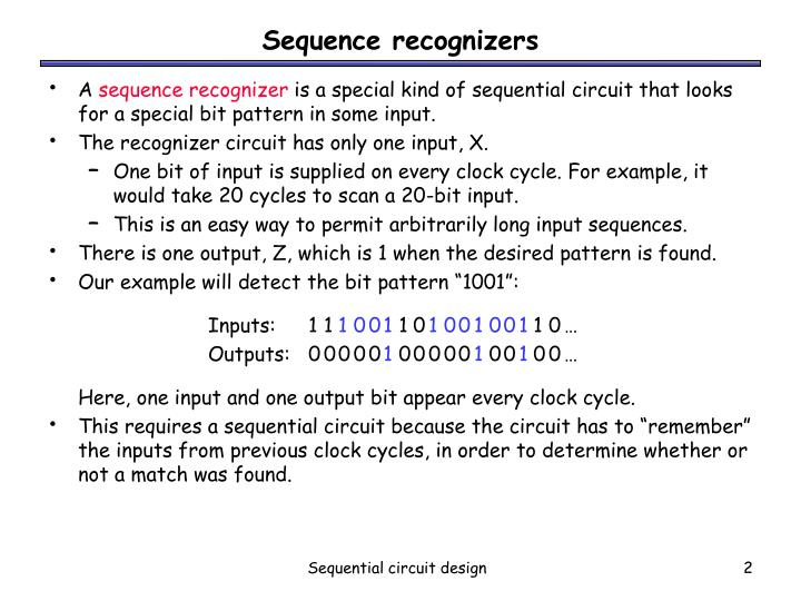 Sequence recognizers