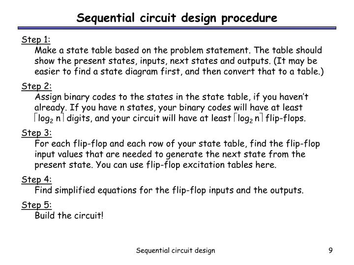 Sequential circuit design procedure