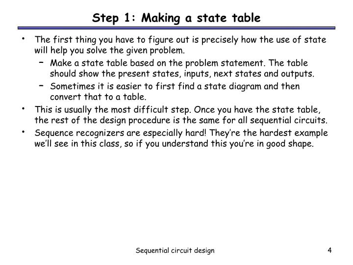 Step 1: Making a state table