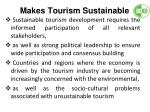 makes tourism sustainable