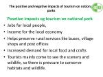the positive and negative impacts of tourism on national parks