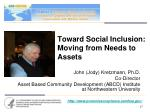 toward social inclusion moving from needs to assets