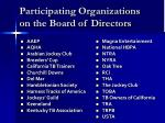 participating organizations on the board of directors