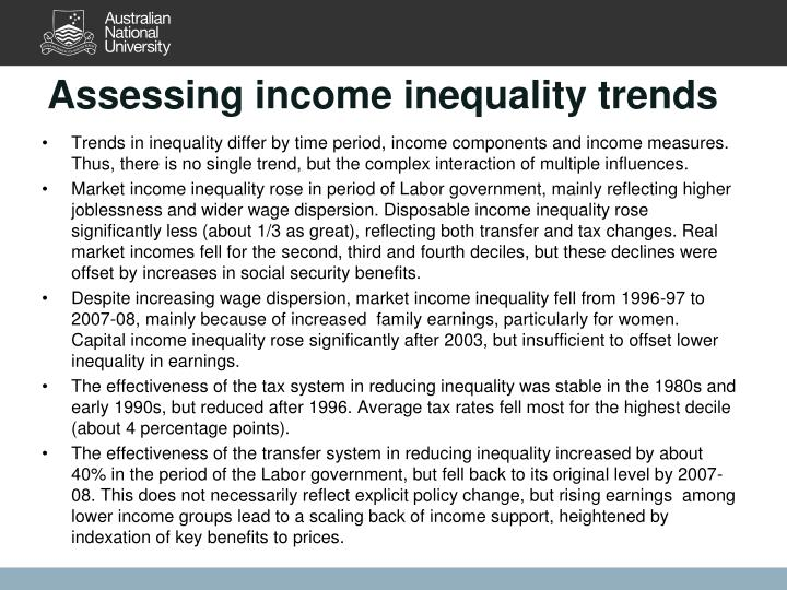 Assessing income inequality trends