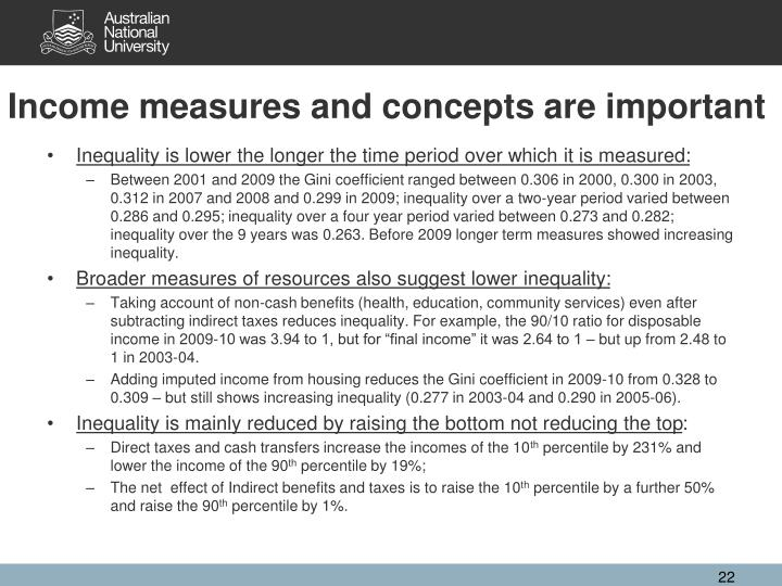 Income measures and concepts are important
