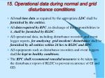 15 operational data during normal and grid disturbance conditions