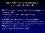 hrr block required readings audio visual materials
