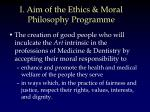i aim of the ethics moral philosophy programme