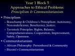 year 1 block 5 approaches to ethical problems principlism communitarianism