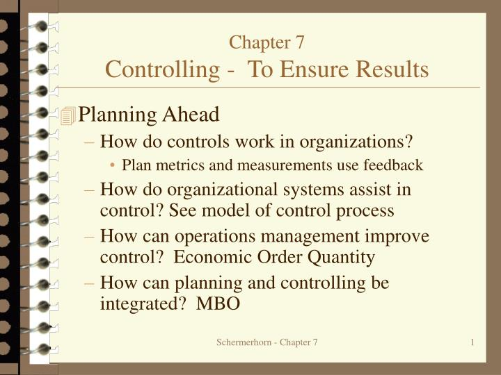 chapter 7 controlling to ensure results n.