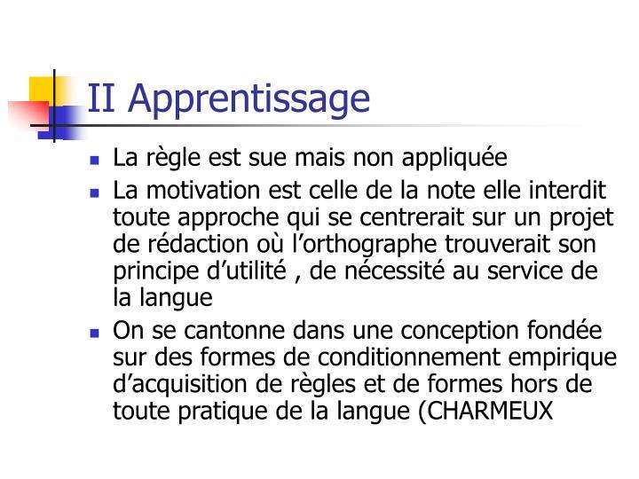 II Apprentissage