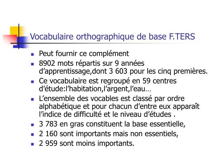 Vocabulaire orthographique de base F.TERS
