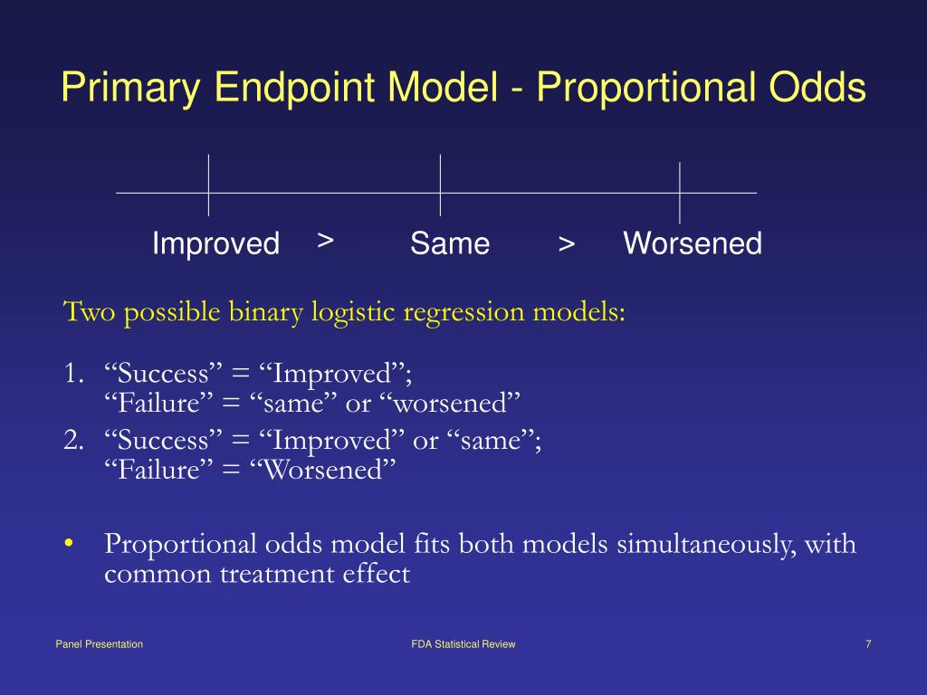 Primary Endpoint Model - Proportional Odds