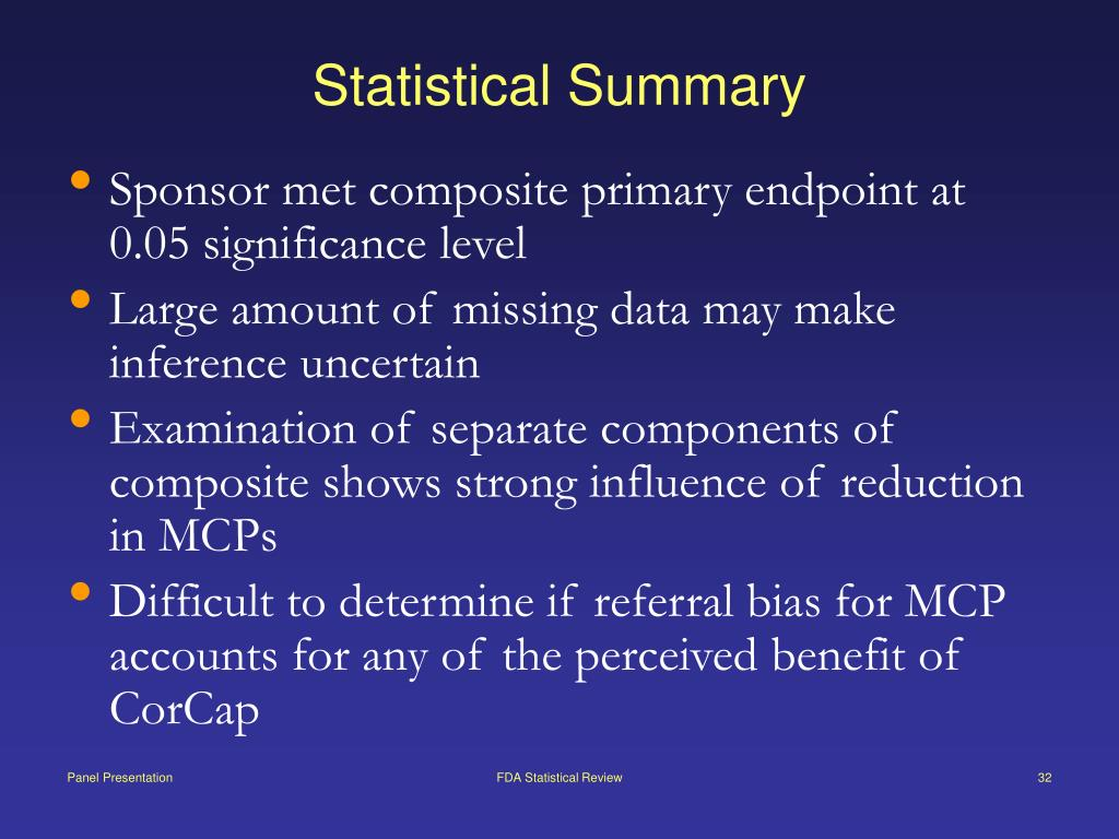 Statistical Summary