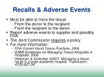recalls adverse events