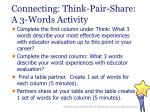 connecting think pair share a 3 words activity