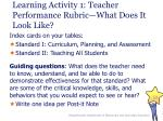 learning activity 1 teacher performance rubric what does it look like