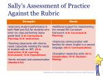 sally s assessment of practice against the rubric