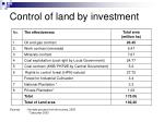 control of land by investment