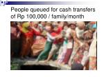 people queued for cash transfers of rp 100 000 family month