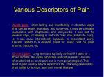 various descriptors of pain2