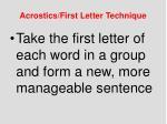 acrostics first letter technique