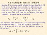 calculating the mass of the earth