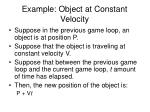 example object at constant velocity